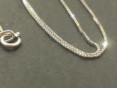 14k Solid White Gold Classic Box Necklace Pendant Chain 18