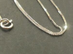 14k Solid White Gold Clic Box Necklace Pendant Chain 18 Best Price