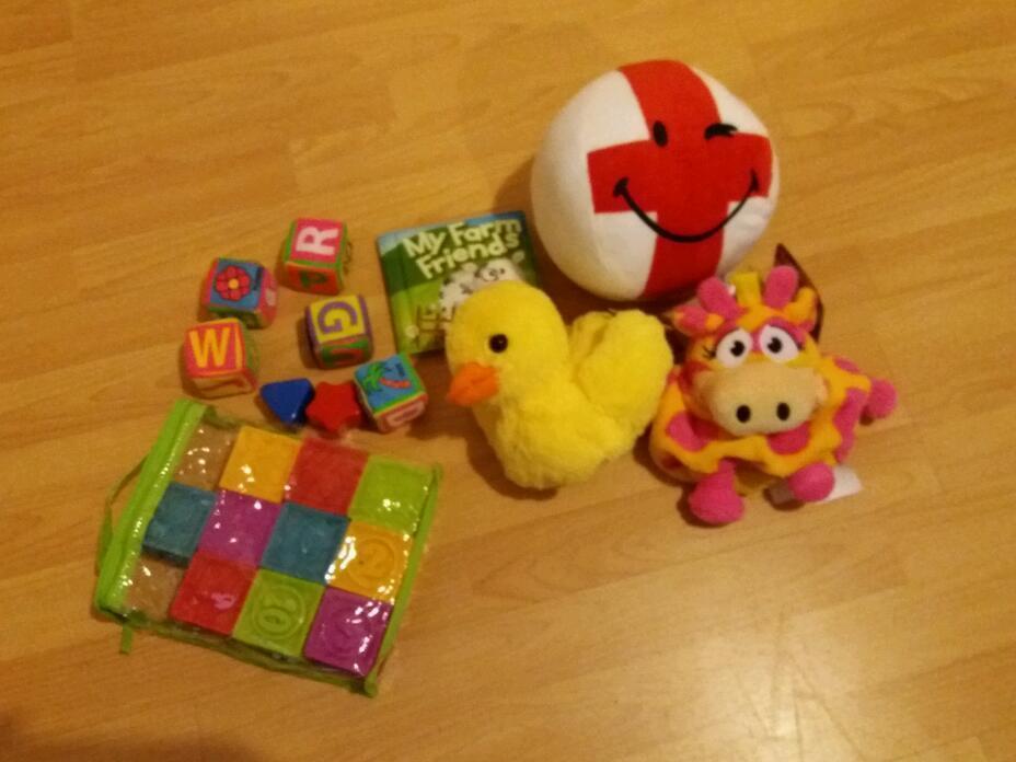 Baby toy bundlein Midsomer Norton, SomersetGumtree - Baby toys bundle 3 soft toys, waterproof book, neon soft blocks and pack of rubber blocks
