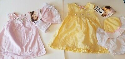 Toddler Girls Youngland Pink or Yellow Dress Hat Panties Size 12 18 Months](Toddler Yellow Hat)