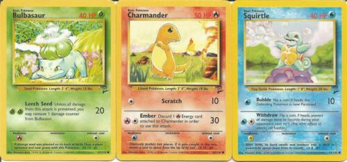Starter Pokemon Cards Charmander Squirtle Bulbasaur Base Set 2 Fan Favorites Tcg
