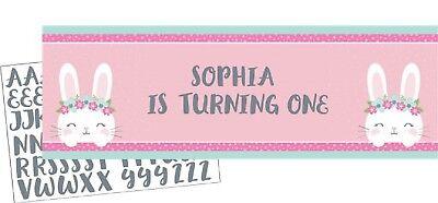 Kleines Mädchen 1. Geburtstag Bunny Party Personalisierter Banner Dekoration