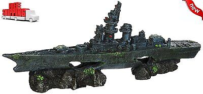 NEW Aquarium Sunken Battleship Ornament Decoration Fish Tank Ship Wreck Boat
