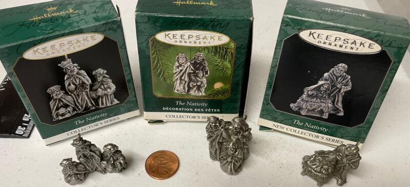 Hallmark - THE NATIVITY Set (3) 1998-2000 Miniature Vintage Ornaments PEWTER