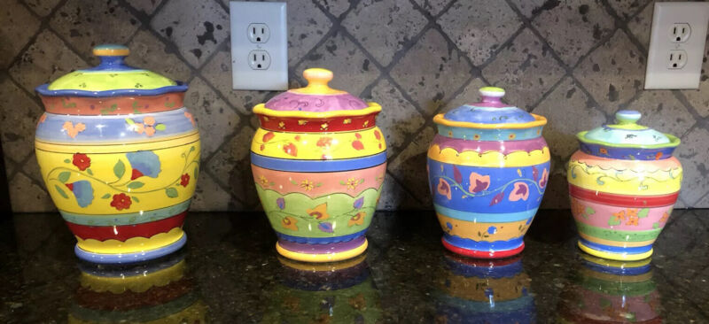 Sue Zipkin Set Of 4 canisters Bright Colors! Certified International Brand