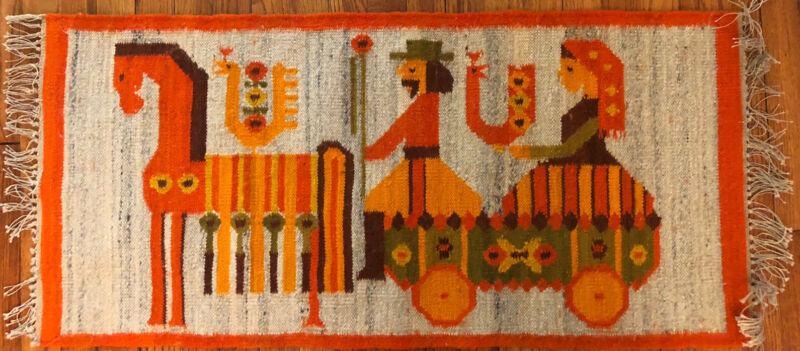 Vintage MCM Wool Poland Folk Art Rug Kilim Tapestry Cepelia Maria Domanska 40x19