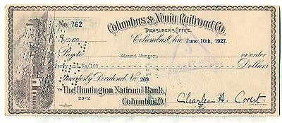 Columbus   Xenia Railroad Co  Check Ohio Stock Huntington National Bank