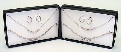 NIB Macys Diamond Accent Bracelet Earrings Necklace Captured Heart Set Lot Of 2 Diamond Accent Bracelet And Necklace