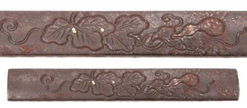 Antique Japanese Iron Kozuka Gourds Leaves Sword Fitting Koshirae Samurai Old