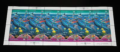UNITED NATIONS #604a, NEW YORK,1992,CLEAN OCEANS, PANE OF 12, MNH, NICE! LQQK!