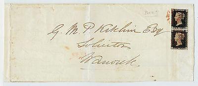 1840 Great Britain Birmingham to Warwick Strip of 2 Penny Black Victoria Plate 7