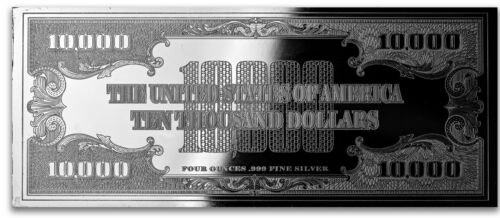 Discounted $10,000 Currency Note ~ Proof 4oz  Unc Silver Bar ~  Some Flaws