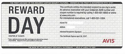 7 Avis Rental Certificates / Vouchers, Expires 04/30/2017