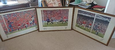 A set of 3 signed Manchester United 'the trebble' limited edition prints