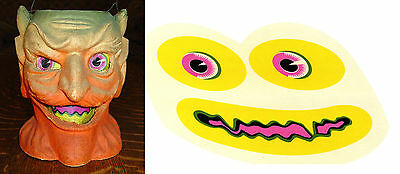 GLASSINE PAPER REPLACEMENT FACE FOR  HALLOWEEN DEVIL PAPER MACHE LANTERN #E