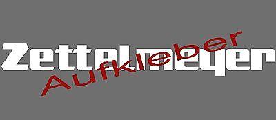 ZETTELMEYER Aufkleber Schriftzug Logo Emblem - weiss, neu, Repro, 70 cm / 3er
