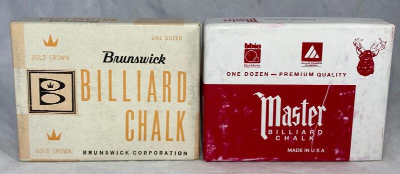 Vintage-Brunswick Master-New Billiard Pool Chalk 24 Lot Pool