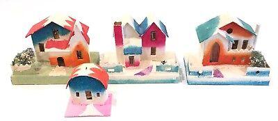 "Vintage Cardboard Putz Christmas Houses Mica Glitter Japan 2-1/2"" - 4"" Lot of 4"