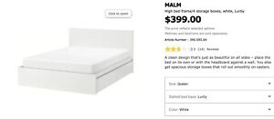 IKEA QUEEN SIZE bed frame with 4storage boxes
