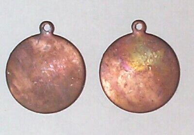 1940s Jewelry Styles and History VINTAGE 1940'S PATINA SLEEK BRASS BLANK ROUND SMOOTH TABS STAMPINGS /RING 10 PCS $8.95 AT vintagedancer.com