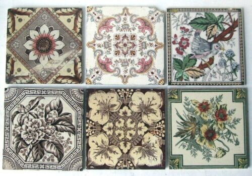 "Collection of 6 Original 6"" x 6"" Antique / Vintage Victorian Printed Tiles"
