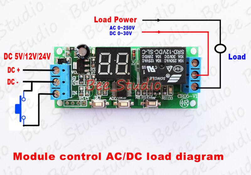 Multifunction Digital Time Infinite Delay Switch Timer Relay Module DC5V 12V 2EO