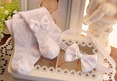 Baby SET Strumpfhose und Haarband 48 50 56 - Strumpfband Und Strumpf Set