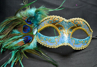 Teal/Gold Women Party Mask Masquerade Mask with Gems & Peacock Feathers - Peacock Masquerade Mask