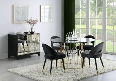 5 PC GOLD DINING TABLE & BLACK VELVET CHAIRS DINING ROOM FURNITURE SET