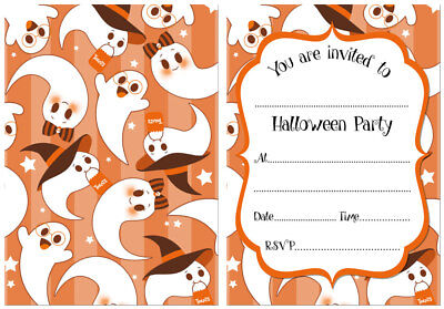 Halloween Invitations - Cute Ghost Design - Pack of 24 Double Sided Cards