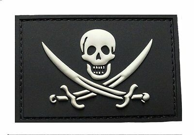 Jolly Roger Calico Jack PVC Rubber Morale Hook PVC Patch BY -