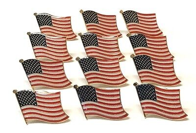LOT OF 12 American Flag Lapel Pins - US USA  Flag Pin