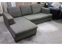 Left-hand Fabric Corner Chaise in Dark Green - British made