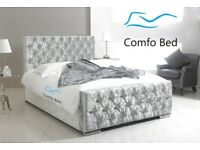 Sale ! Bed Frame Ibiza Pretige Crushed Silver Velvet ( All Fabrics/Colours ) By Comfo Beds