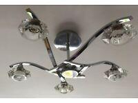 Endon 5 Arm Chrome & Glass ceiling Light