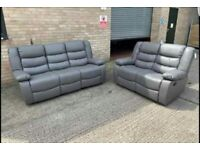 *BRAND NEW* 3+2 GREY LEATHER RECLINER SOFA