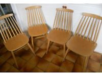 Four Mid Century Comb Back Kitchen or Dining Chairs