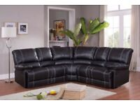 STYLISH NEW LUXRY RECLINER CORNER SOFA BLACK AND BROWN COLOR !QUICK DELIVERY WE COVER ALL AREAS!