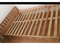 wood double bed frame