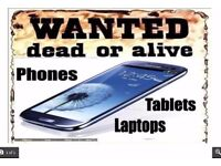 Modern laptops in any condition, broken, dead or alive. Also phones and tablets