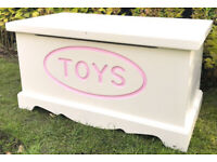 Painted pine child's toy chest / blanket box