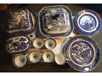 Collection of Vintage Blue/White Pottery