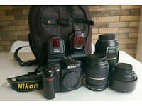 DSLR Camera Nikon d90, 3 lenses, 2 flashguns, camera bag and tripod