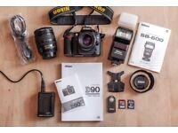 Nikon D90 Digital SLR kit with Lenses & Flash etc