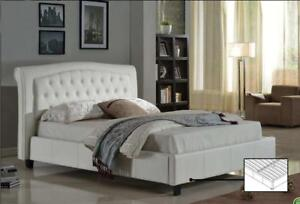 White Leather Bed Special price (IF284)
