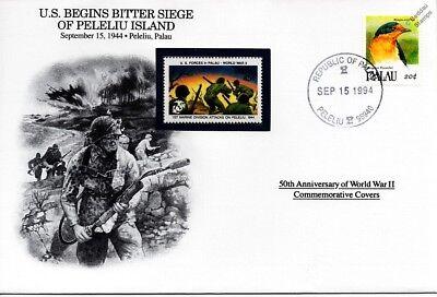 WWII 1944 US Forces Siege of Peleliu Island Stamp Cover (Palau/Danbury Mint)