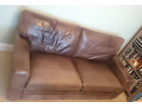 Brown leather sofa suite 2+1