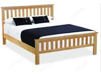 SOLID OAK KINGSIZE BED 5 FT WITH ORTHO MATTRESS