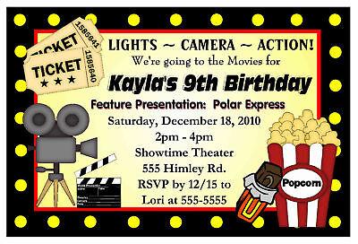 Hollywood Party Invitations - MOVIE NIGHT BIRTHDAY PARTY INVITATIONS - HOLLYWOOD
