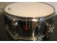 Premier snare drum (vintage 91). Plus hard flight case & spare heads.
